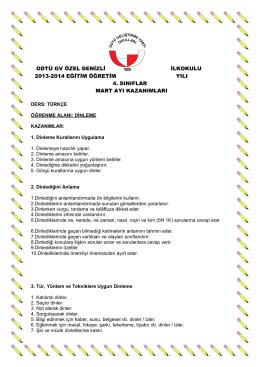 odtü gv özel denizli ilkokulu 2013-2014 eğitim öğretim yılı 4. sınıflar