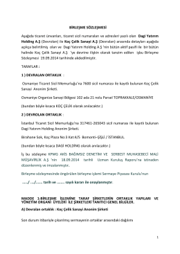 Birlesme Sozlesmesi 19 Eylul 2014 - Anasayfa / Koç Çelik Sanayi A.Ş