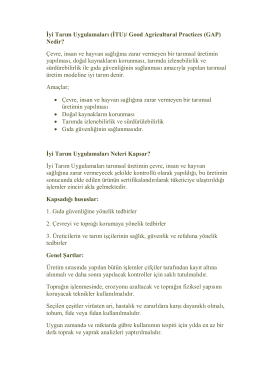 İyi Tarım Uygulamaları (İTU)/ Good Agricultural Practices (GAP