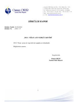 17 Nisan Ayı Vergi Takvimi