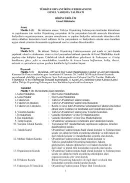 Genel Yarışma Talimatı - Türkiye Oryantiring Federasyonu
