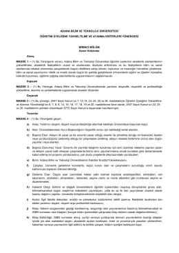 Adana Bilim ve Teknoloji Üniversitesi Öğretim Üyeliğine