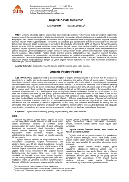 Organik Kanatlı Besleme* Organic Poultry Feeding