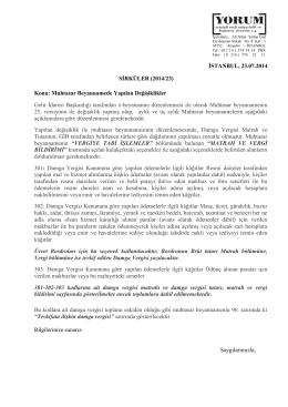 İSTANBUL, 23.07.2014 SİRKÜLER (2014/23) Konu