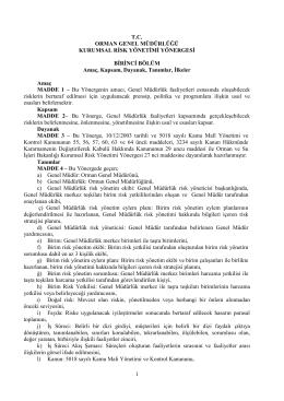 Orman Genel Müdürlüğü Risk Yönergesi
