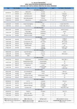 Mid-Term Exam Schedule - Çevre Mühendisliği Bölümü
