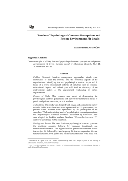 Psychological Contract Perceptions and Person