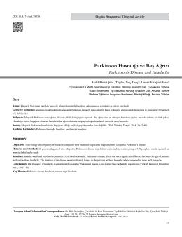 Parkinson Hastalığı ve Baş Ağrısı