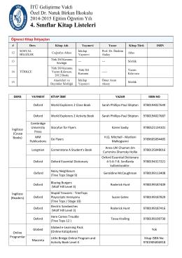 4. Sınıflar Kitap Listeleri - İTÜ Geliştirme Vakfı Okulları