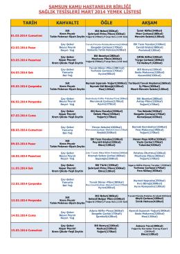 samsun kamu hastaneler birliği sağlık tesisleri mart 2014 yemek