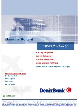 Yurt Dışı Gelişmeler DenizBank Ekonomi Bülteni 15 Eylül 2014