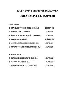 2013 – 2014 sezonu grekoromen güreş 1.süper lig takımları