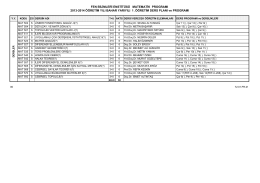 FEN BİLİMLERİ ENSTİTÜSÜ MATEMATİK PROGRAMI 2013