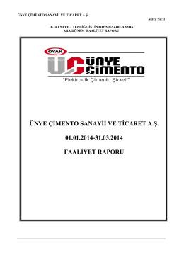 Faaliyet Raporu 31.03.2014