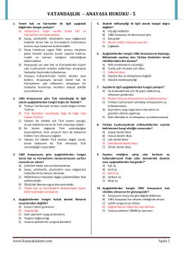 VATANDAŞLIK – ANAYASA HUKUKU - 5