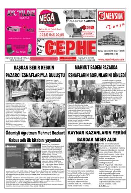 10.02.2014 Tarihli Cephe Gazetesi
