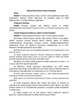 Yeni Yandal Yönergesi - Selçuk Üniversitesi
