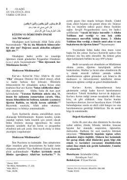 İl : ELAZIĞ AY-YIL:EYLÜL-2014 TARİH:12.09.2014 ayette geçen ilim