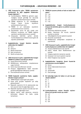 VATANDAŞLIK – ANAYASA HUKUKU - 18