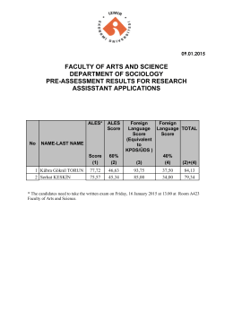 department of sociology pre-assessment results for research