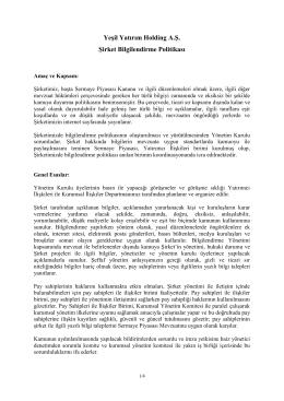 Yeşil Yatırım Holding A.Ş. Şirket Bilgilendirme Politikası