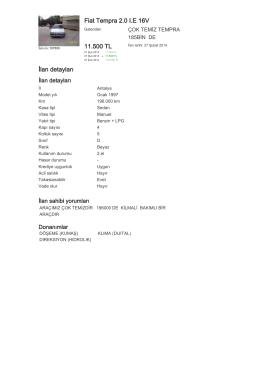 Fiat Tempra 2.0 I.E 16V 11.500 TL İlan detayları