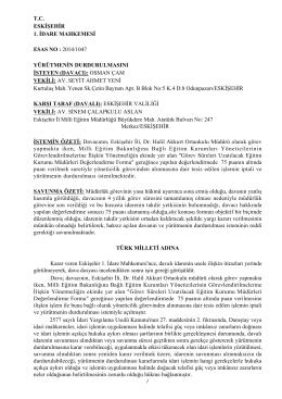 Eskişehir 1. İdare Mahkemesinin Yürütmeyi - Türk Eğitim-Sen