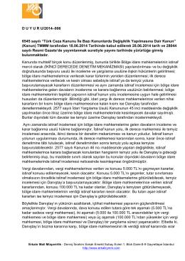 """D U Y U R U/2014–006 6545 sayılı """"Türk Ceza Kanunu İle Bazı"""