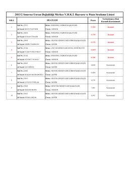 2013/2 Sınavsız Unvan Değişikliği Merkez V.H.K.İ. Başvuru ve Puan