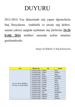2013-2014 Yaz Döneminde Yapılan Stajlarla İlgili Duyuru