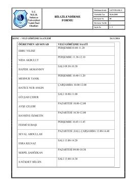 kalite kayıtları listesi - Sau Vakfı Koleji Özel Okulları