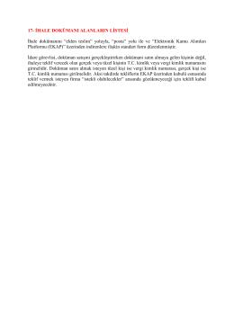 17- İhale Dökümanı Alanların Listesi