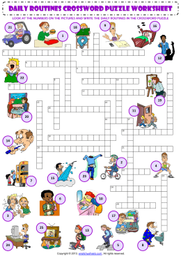 daily routines CROSSWORD PUZZLE worksheet
