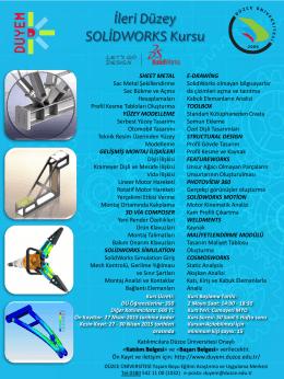İleri Düzey SolidWorks Kursu Açılıyor... - Düzce Üniversitesi