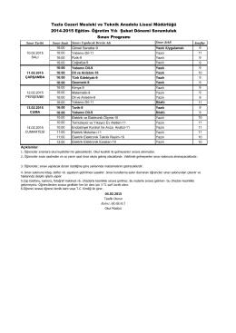 Tuzla Cezeri Mesleki ve Teknik Anadolu Lisesi Müdürlüğü 2014