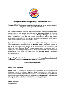 """Simpsons Ailesi"" Burger King® Restoranları`nda ! Burger King"
