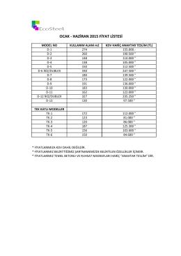 ocak -‐ haziran 2015 fiyat listesi - Eco Celik Yapi sistemi || www