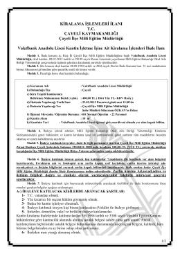 vakıfbank anadolu lisesi kantin ihale ilanı 13.02.2015 09:10