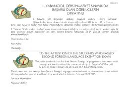 ıı. yabancı dil dersi muafiyet sınavında başarılı olan