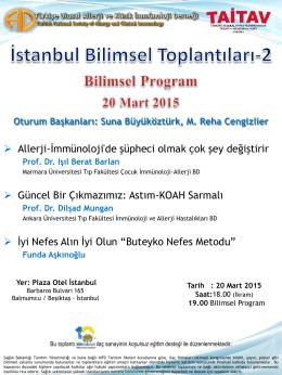 AİD İstanbul Bilimsel Toplantılarının ikincisi 20 Mart`ta