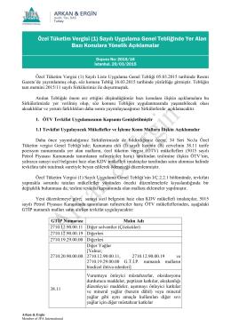 Özel Tüketim Vergisi (1) Sayılı Uygulama Genel