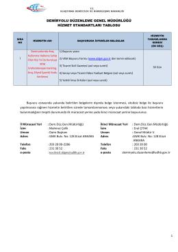 Demiryolu Düzenleme Genel Müdürlüğü Hizmet Standartları