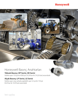 Honeywell Basınç Anahtarları HP Serisi, HE Serisi, LP Serisi, LE Serisi