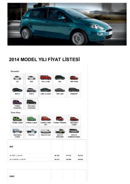 2014 model yılı fiyat listesi