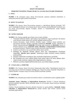 Sinop Üniversitesi Öğretim Üyeliğine Yükseltilme ve Atanma