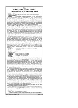 tc zonguldak 1. icra dairesi taşınmazın açık artırma ilanı