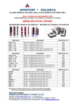 nisan 2014 fiyat listesi - Gözdem elektrik sanayi ve ticaret ltd.Şti.
