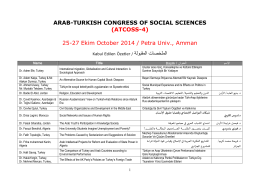 ARAB-TURKISH CONGRESS OF SOCIAL SCIENCES (ATCOSS-4