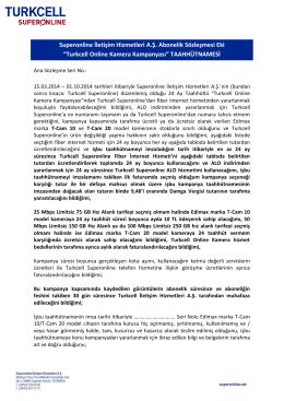 """Turkcell Online Kamera Kampanyası"" TAAHHÜTNAMESİ"