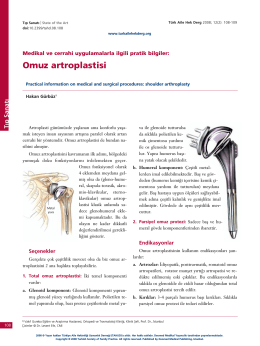 Omuz artroplastisi - Türkiye Aile Hekimliği Dergisi